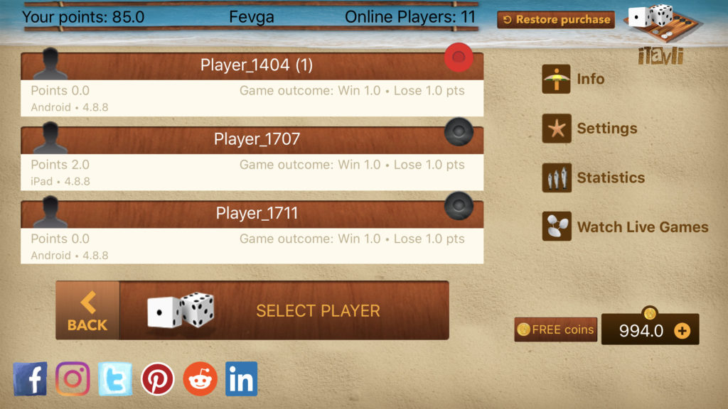 iTavli: Online players list in version 4.9